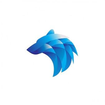Современный геометрический градиент логотипа головы белого медведя