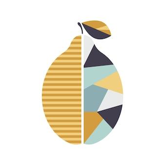 モダンな幾何学的なレモンのイラストモダンなフルーツのポスター