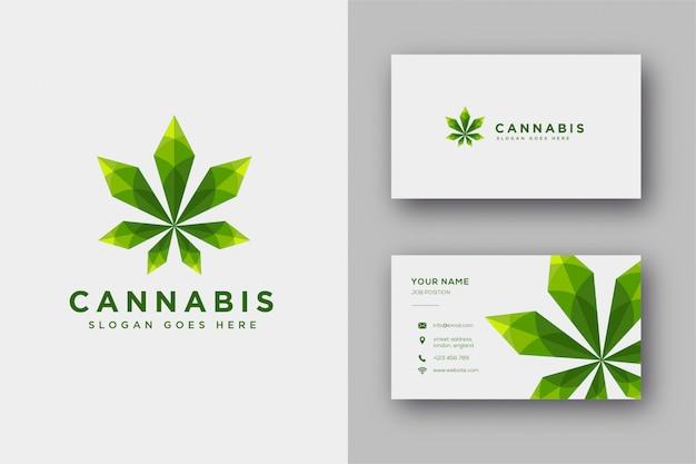 麻/大麻/マリファナのモダンな幾何学的なロゴのインスピレーション、lowpolyスタイルと名刺テンプレート