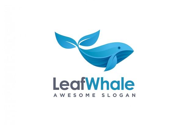 Современный геометрический логотип китовых рыб и листьев, логотип природы китов Premium векторы