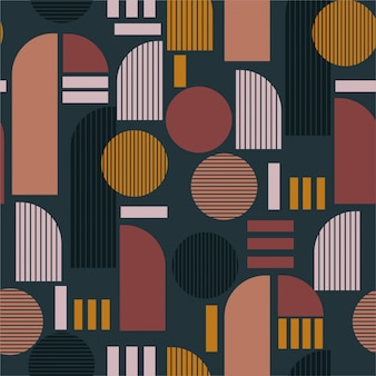 Modern geometric mixed shape with stripe seamless pattern