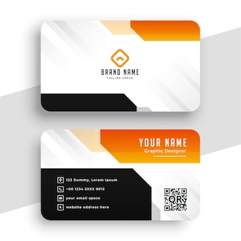 Современный геометрический оранжевый шаблон визитной карточки