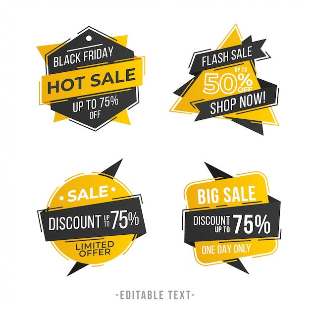 Modern geometric sale banner and black friday collection
