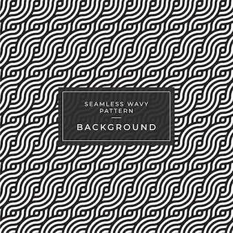 Modern   geometric seamless monochrome  pattern with wavy lines and rounded stripes