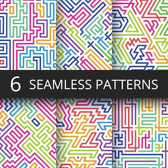 Modern geometric seamless vector patterns with color line shapes. retro technology abstract repeating backgrounds collection