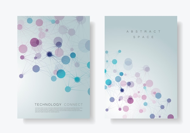 Modern geometric templates with connected lines and dots technology