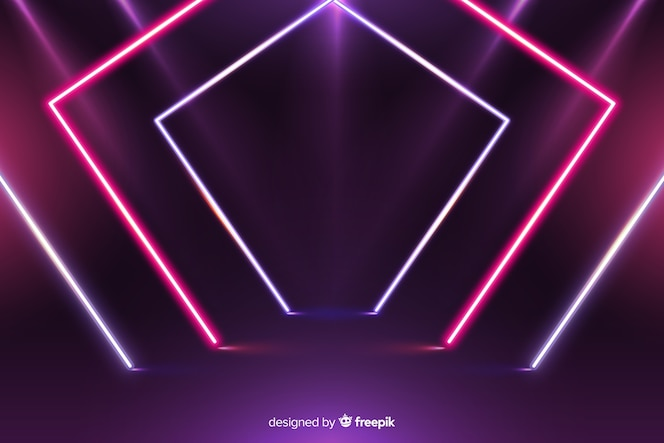 Modern geometrical neon lights background