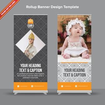 Современный геометрический шаблон rollup banner в серой палитре