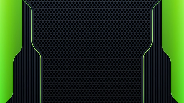 Modern geometry shapes black lines with green borders on dark background. luxurious bright green lines with metallic effect. vector illustration
