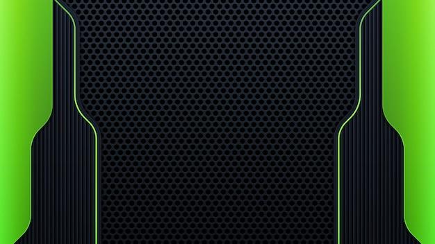 현대 기하학은 어두운 배경에 녹색 테두리가 있는 검은색 선을 형성합니다. 금속 효과가 있는 고급스러운 밝은 녹색 라인. 벡터 일러스트 레이 션
