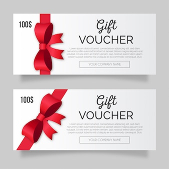 Modern gift voucher pack with red ribbon