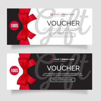 Modern gift voucher set with realistic red ribbon