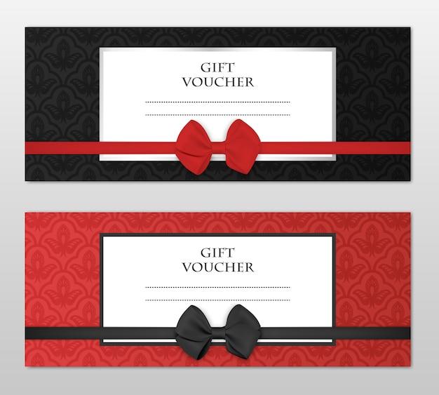 현대 선물 바우처 템플릿 꽃 패턴과 아름 다운 활으로 설정합니다. 쿠폰, 카드, 초대장, 인증서, 티켓 등