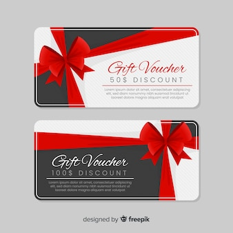 Modern gift voucher template with flat design
