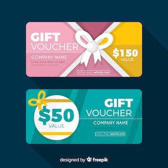 Modern gift voucher template with flat design