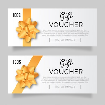 Modern gift voucher with golden ribbon