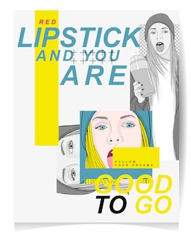 Modern girl illustration with text red lipstick and you are good to go