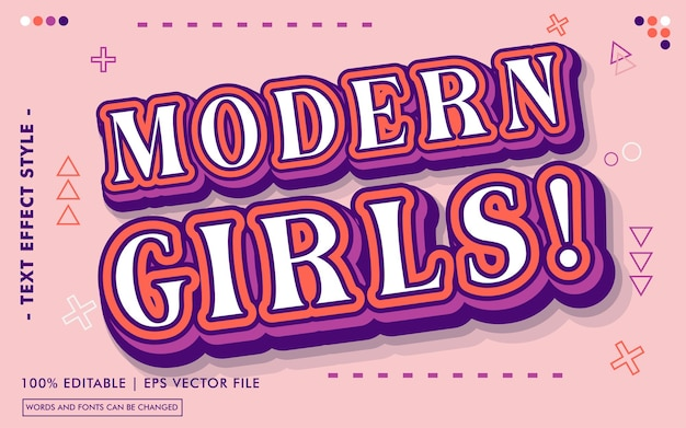 Modern girls! text effects style
