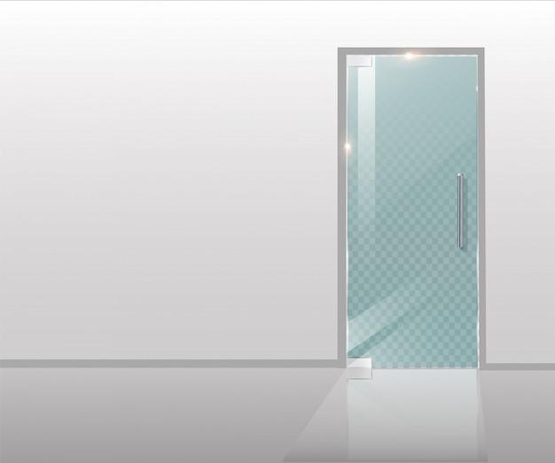 モダンなガラスのドアは、建築プロジェクトや建築図面用の木と透明なガラスです。