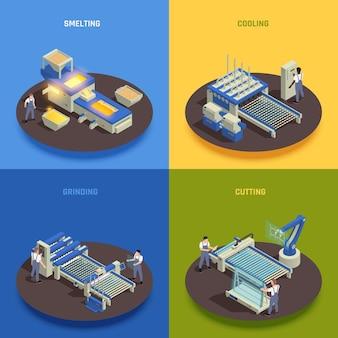現代のガラス生産コンセプト4等尺性組成物正方形溶解鋳造冷却研削切断プロセス