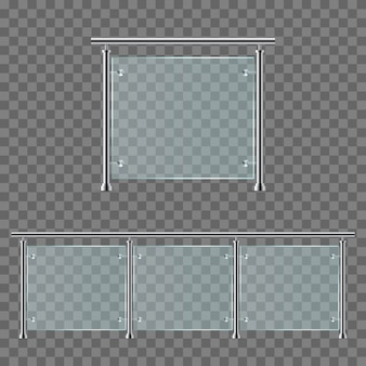 Modern glass railing  illustration isolated