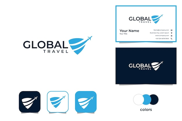 Modern global travel with plane logo and business card