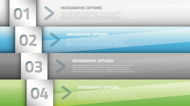 Modern glossy business infographic four options vector