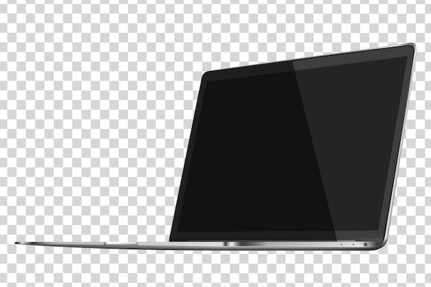 Современный глянцевый ноутбук на прозрачном фоне