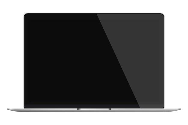 Современный глянцевый ноутбук с черным экраном на белом фоне.