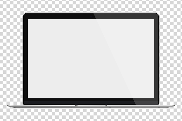 Современный глянцевый ноутбук с пустым экраном, изолированные на прозрачном фоне.