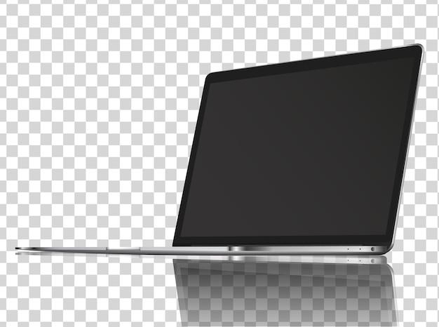 反射のあるモダンな光沢のあるノートパソコン。