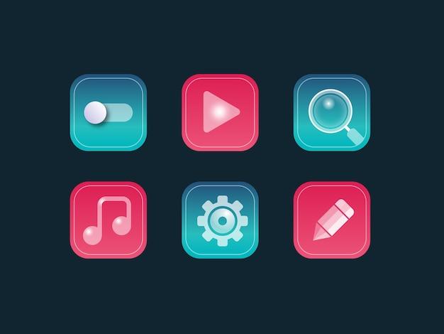 Modern glossy vector icon set