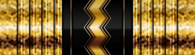 Modern glowing gold with black dark carbon for abstract background design