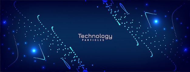Modern glowing particles blue banner design