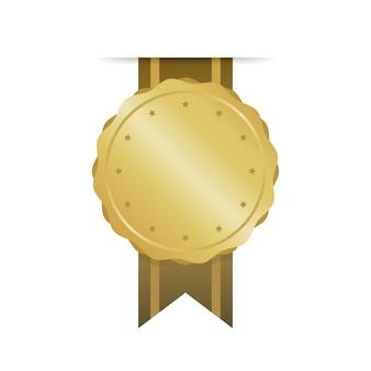 モダンなゴールドサークルメタルバッジ、ラベル、デザイン要素。ベクトルイラスト。