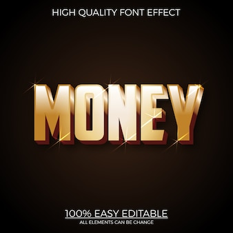 Modern gold text style editable font effect