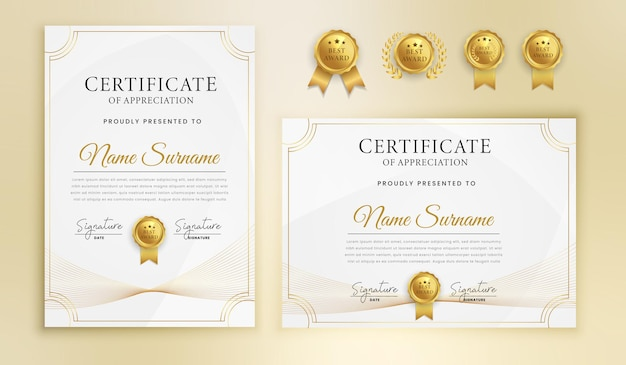 Modern gold and wavy lines certificate with badges Premium Vector