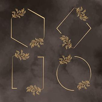 Современная золотая рамка шаблон с пакетом листьев