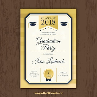 Modern golden graduation party invitation