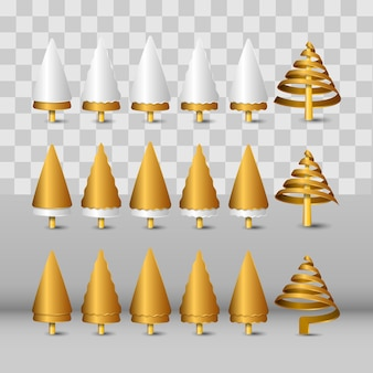 Modern golden realistic christmas tree icon decorations isolated on a transparent background