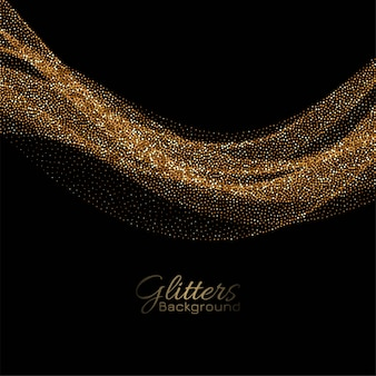 Modern golden sparkles flowing decorative background