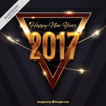 Modern golden triangle background of happy new year