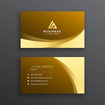 Современный шаблон визитной карточки golden wave