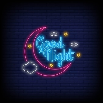 Modern good night light neon text.