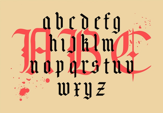 Modern gothic alphabet. vintage font. gothic font hand drawn vector. typography for labels, headlines, posters etc. composition of gothic letters.