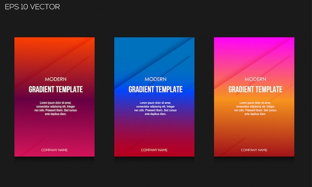 Modern gradient colorful background template set