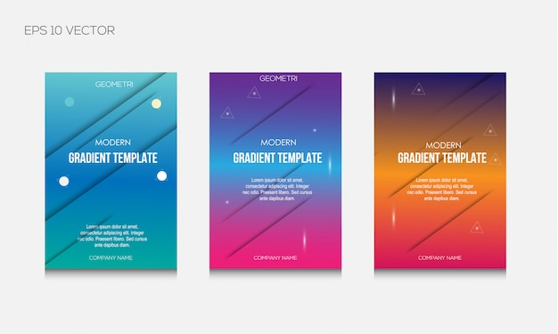 Modern gradient colorful cover template set
