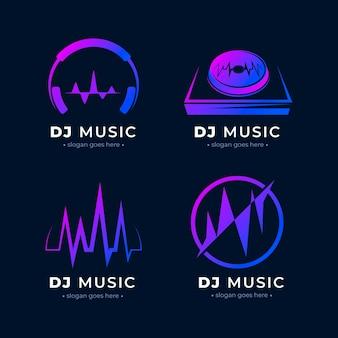 Modern gradient dj logo collection
