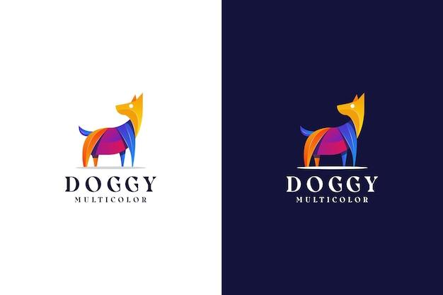 モダンなグラデーション犬のロゴカラフルな抽象