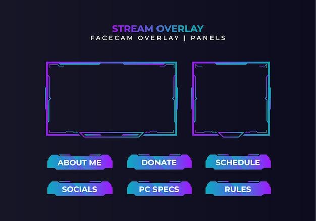 Modern gradient facecam overlay, panels design